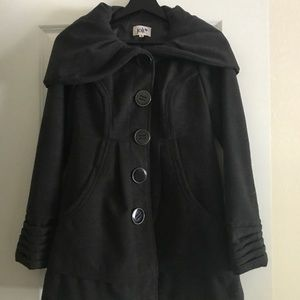 Jolt Dark Grey Peacoat with Oversized Hood